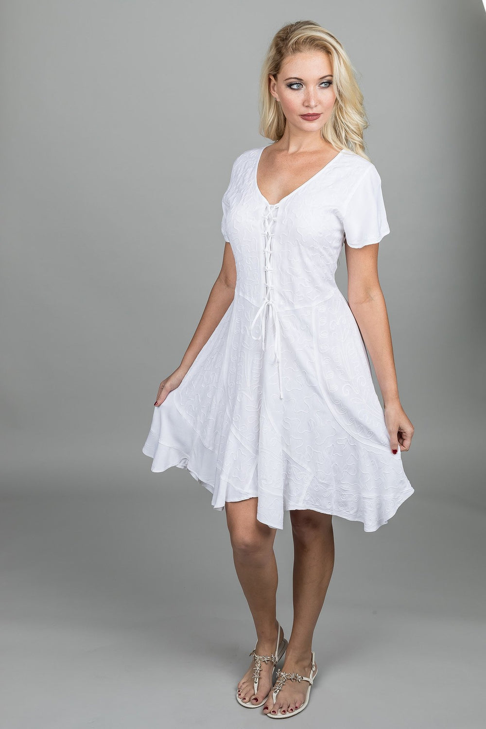 LACE-UP MIDI DRESS-SHORT SLEEVES WHITE