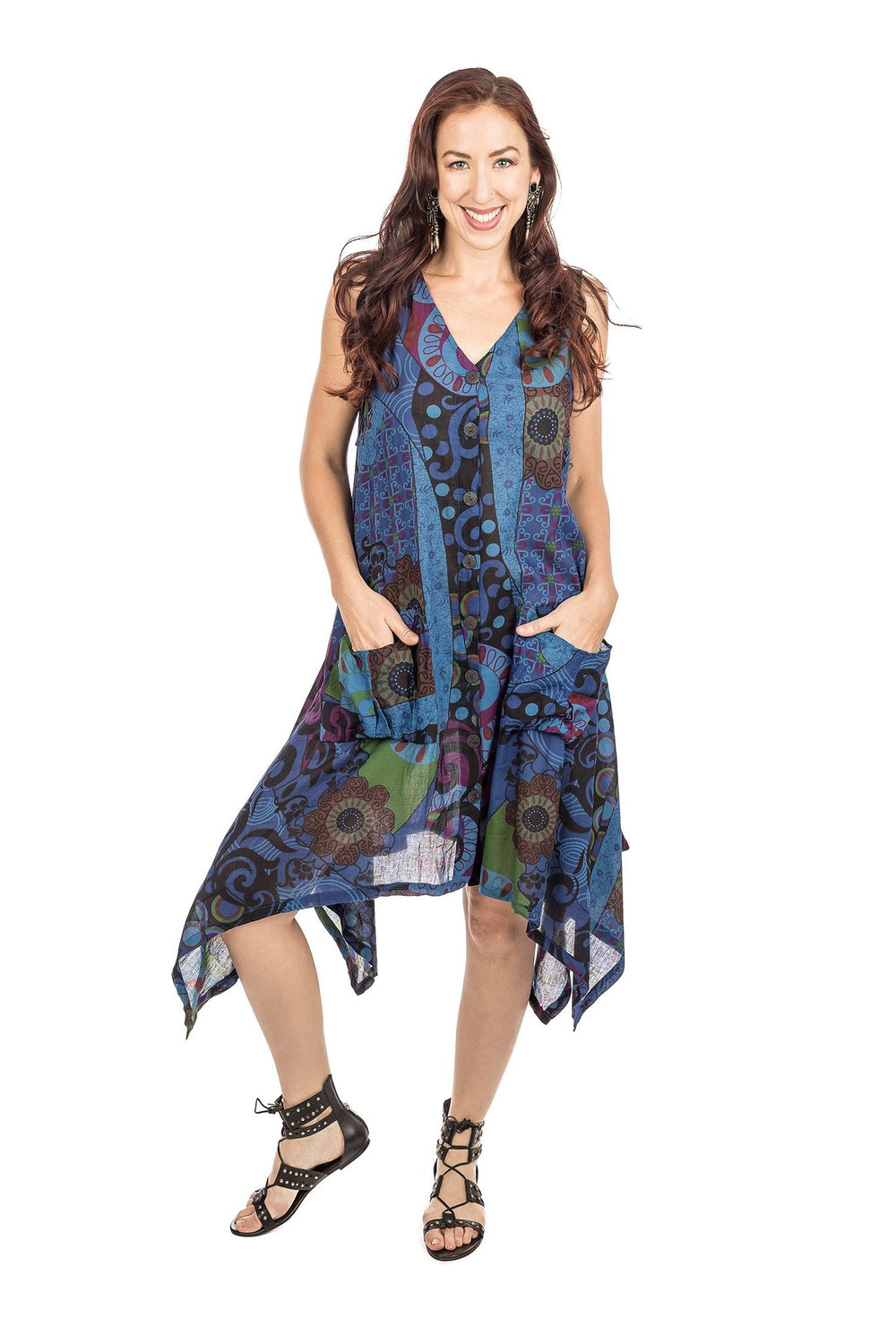 DRESS-COTTON PATCHWORK BLUE 218276