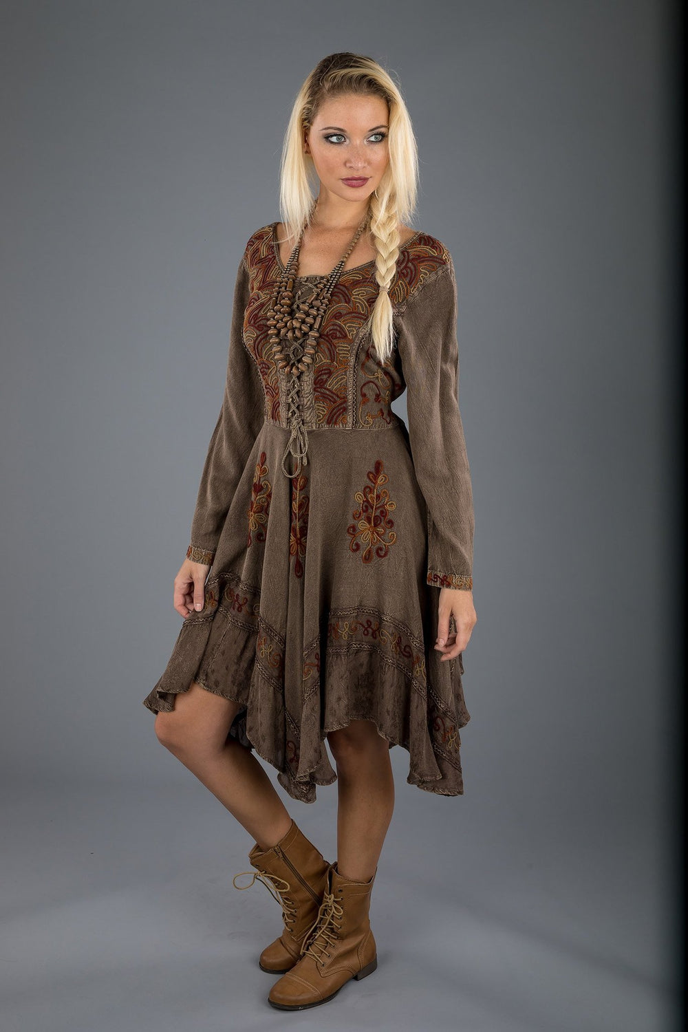 Lace-Up Medieval Style Dress-Short Dress