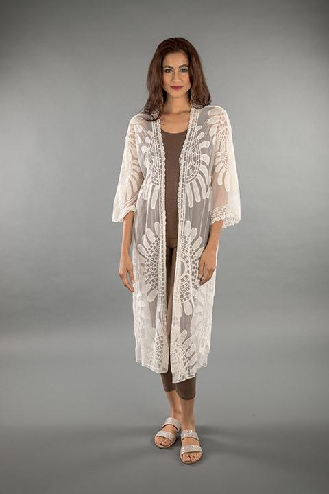 LACE APPAREL-OFF WHITE CARDIGAN LONG 219034