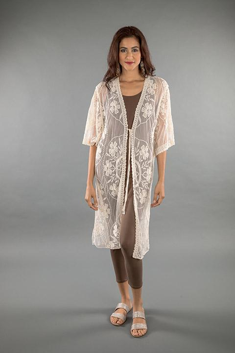 LACE APPAREL-OFF WHITE CARDIGAN LONG 2190345
