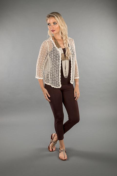 LACE APPAREL-OFF WHITE CARDIGAN SHORT 219037