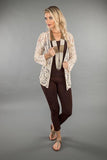 LACE APPAREL-OFF WHITE CARDIGAN SHORT 219039