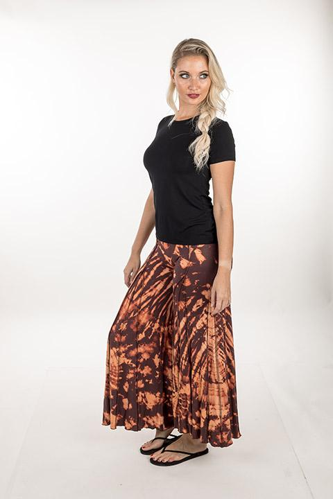 PANTS BELL BOTTOM RAYON SPANDEX TIE DYE BROWN ORANGE
