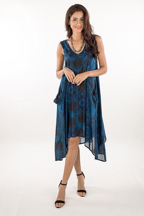 DRESS-COTTON PATCHWORK BLUE 219437