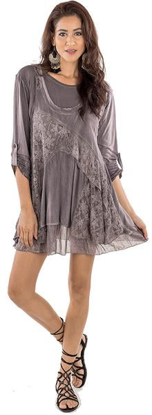 DRESS SET RAYON MAUVISH GREY 220405
