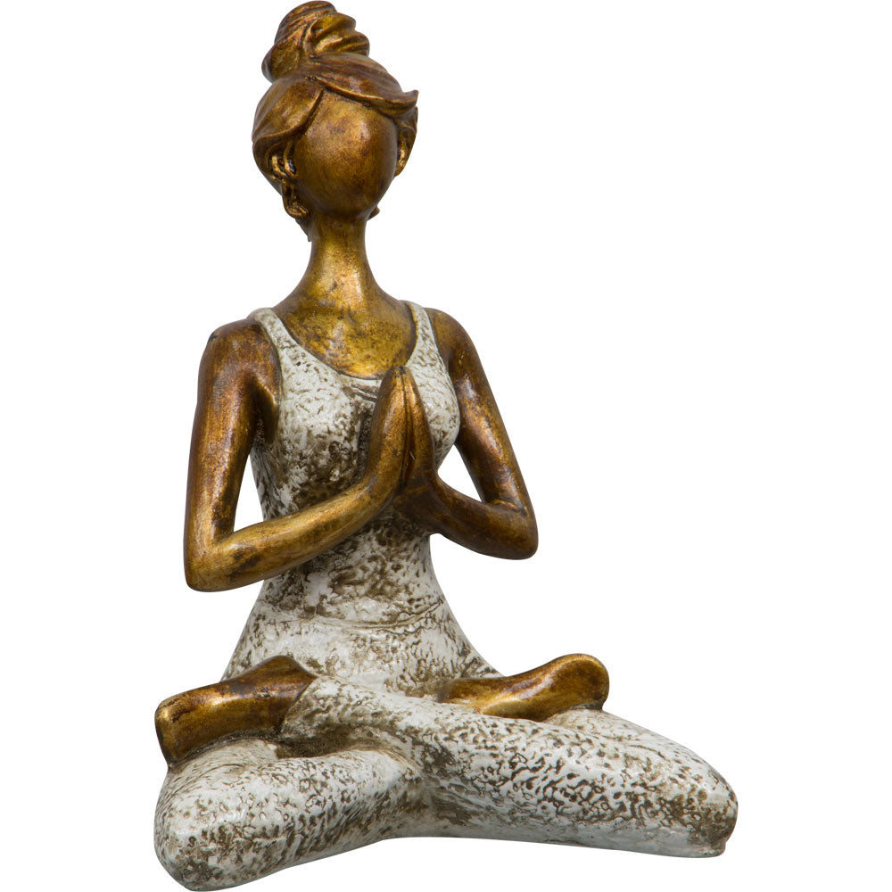 YOGA LADY MEDITATION POSE STATUE WHITE FRONT VIEW