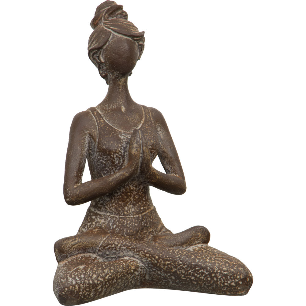 YOGA LADY MEDITATION POSE STATUE ANTIQUE FRONT VIEW