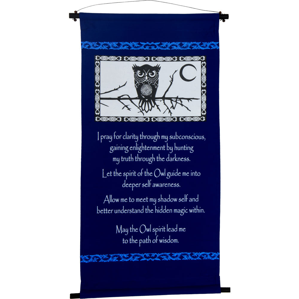 OWL SPIRIT PRAYER INSPIRATIONAL BANNER WALL HANGING