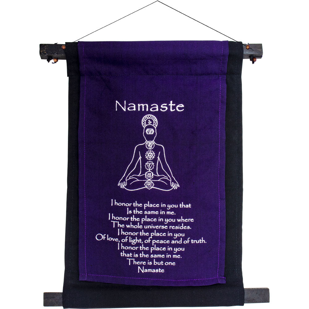 NAMASTE PURPLE SMALL INSPIRATIONAL BANNER WALL HANGING
