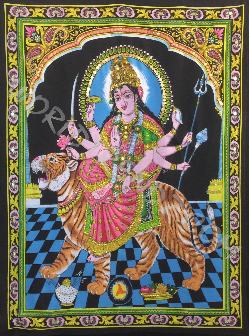 DEITY TAPESTRY SEQUINED GODDESS DURGA