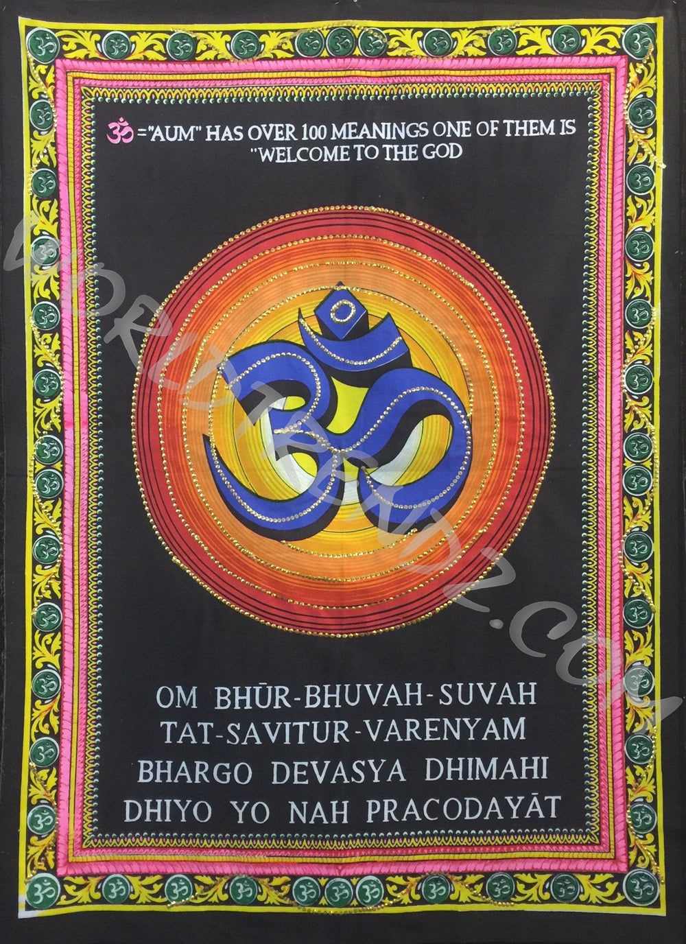 DEITY TAPESTRY SEQUINED OM SYMBOL