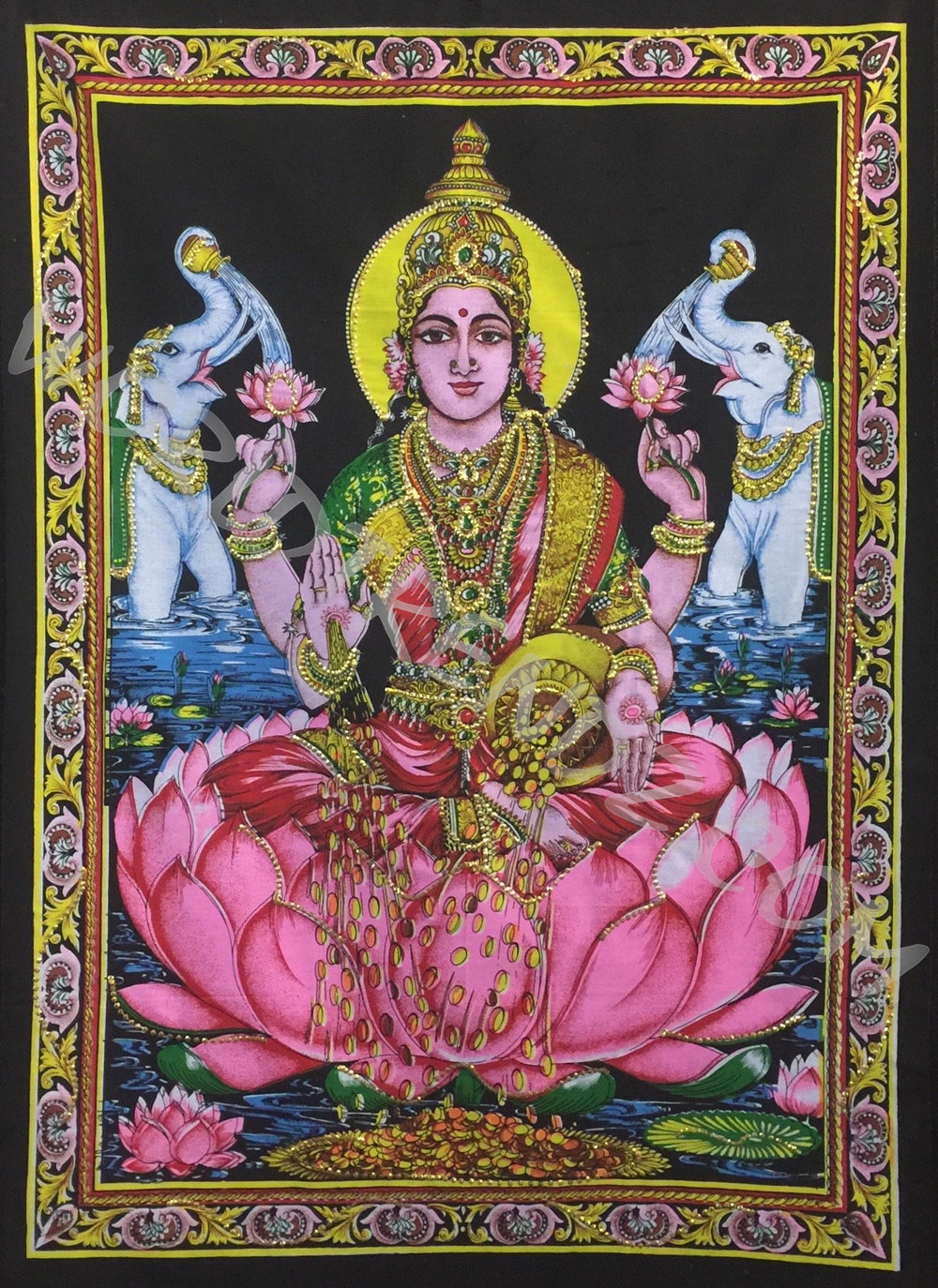 DEITY TAPESTRY SEQUINED GODDESS LAKSHMI