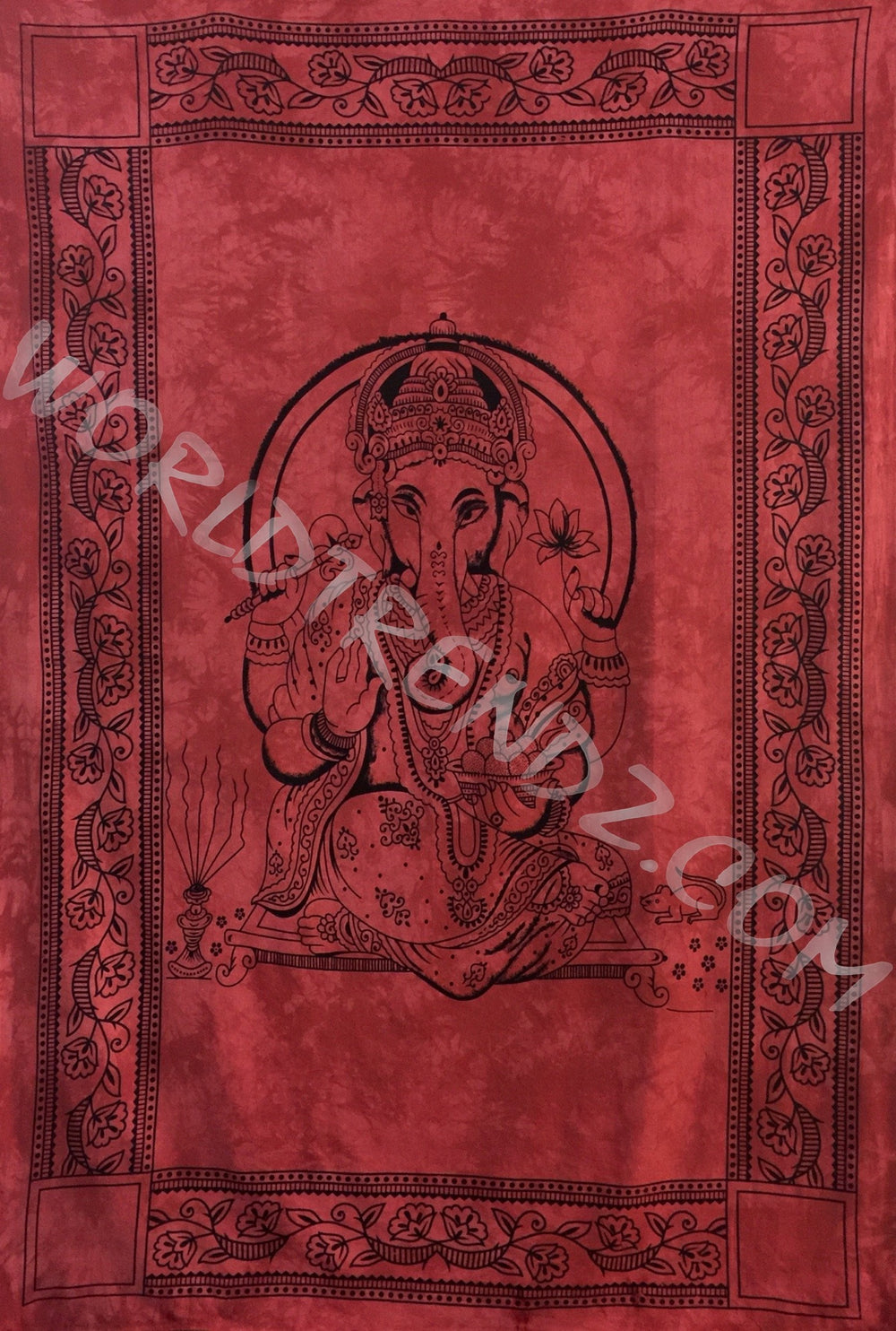GANESHA TRADITIONAL TAPESTRY RED BACKGROUND