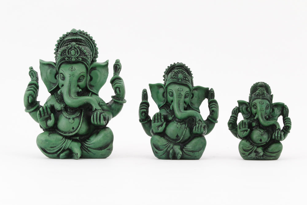 GANESHA AURA COLORED STATUE ALL SIZE COMPARISON FRONT VIEW