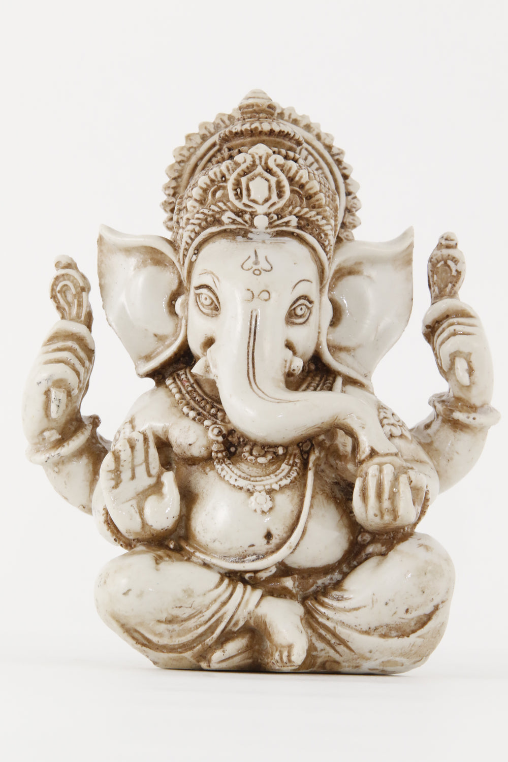 GANESHA AURA STATUE OFFWHITE LARGE SIZE FRONT VIEW