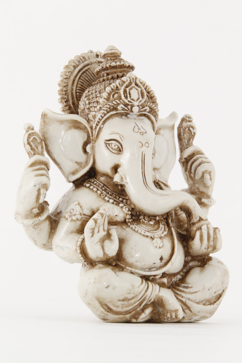 GANESHA AURA STATUE OFFWHITE LARGE SIZE SIDE VIEW
