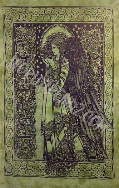 CELTIC ANGEL TAPESTRY GREEN