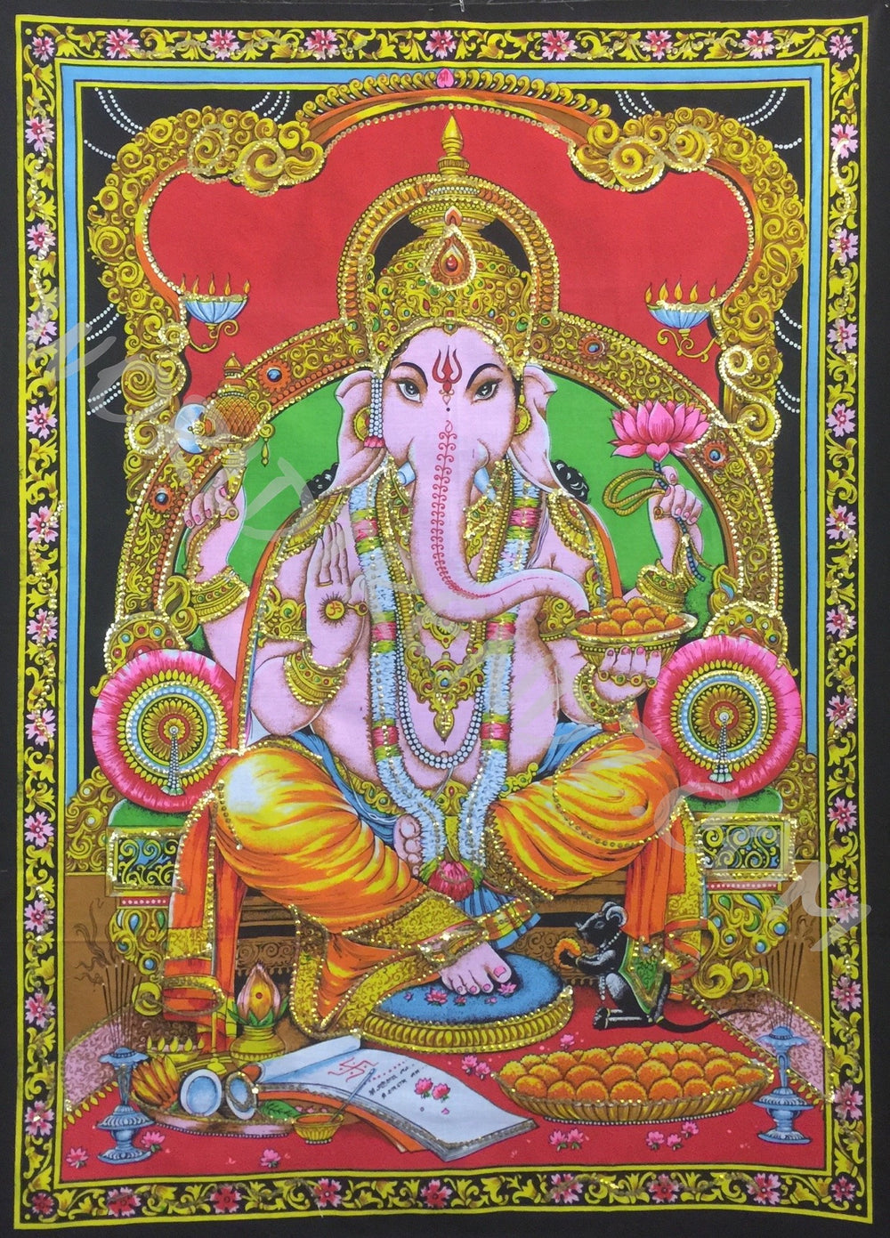 DEITY TAPESTRY SEQUINED GANESHA BLESSING