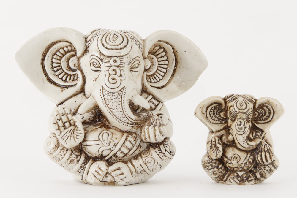 GANESHA BIG EAR STATUE OFFWHITE SIZE COMPARSION FRONT  VIEW