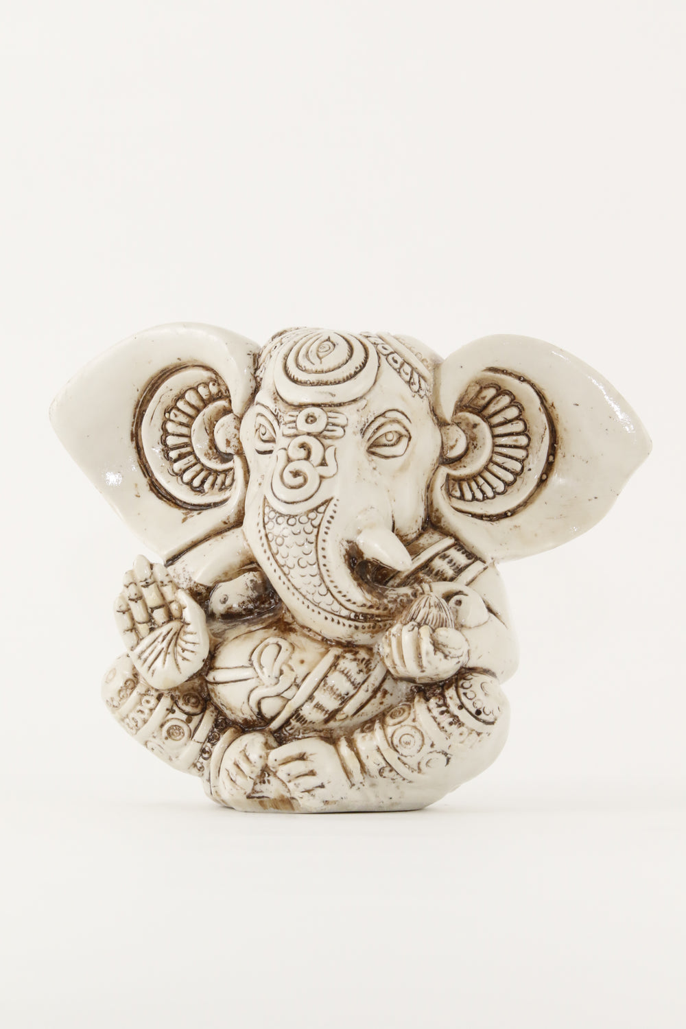 GANESHA BIG EAR STATUE OFFWHITE LARGE SIZE FRONT VIEW