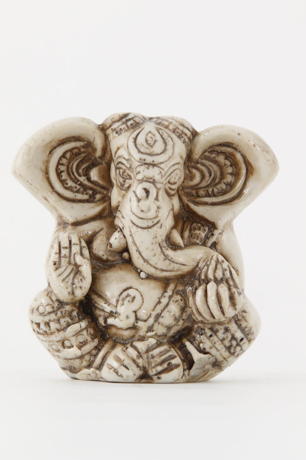 GANESHA BIG EAR STATUE OFFWHITE SMALL SIZE FRONT VIEW