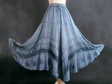 SOLID RAYON FLAIR SKIRT BLUE