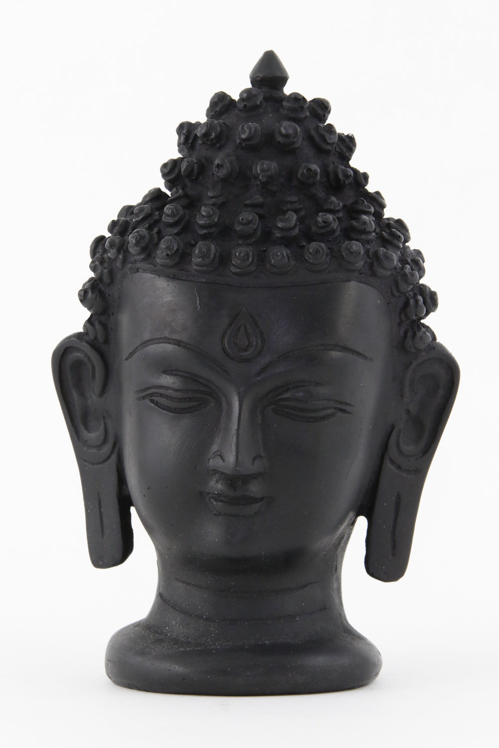 BUDDHA HEAD STATUE DARK LARGE FRONT VIEW