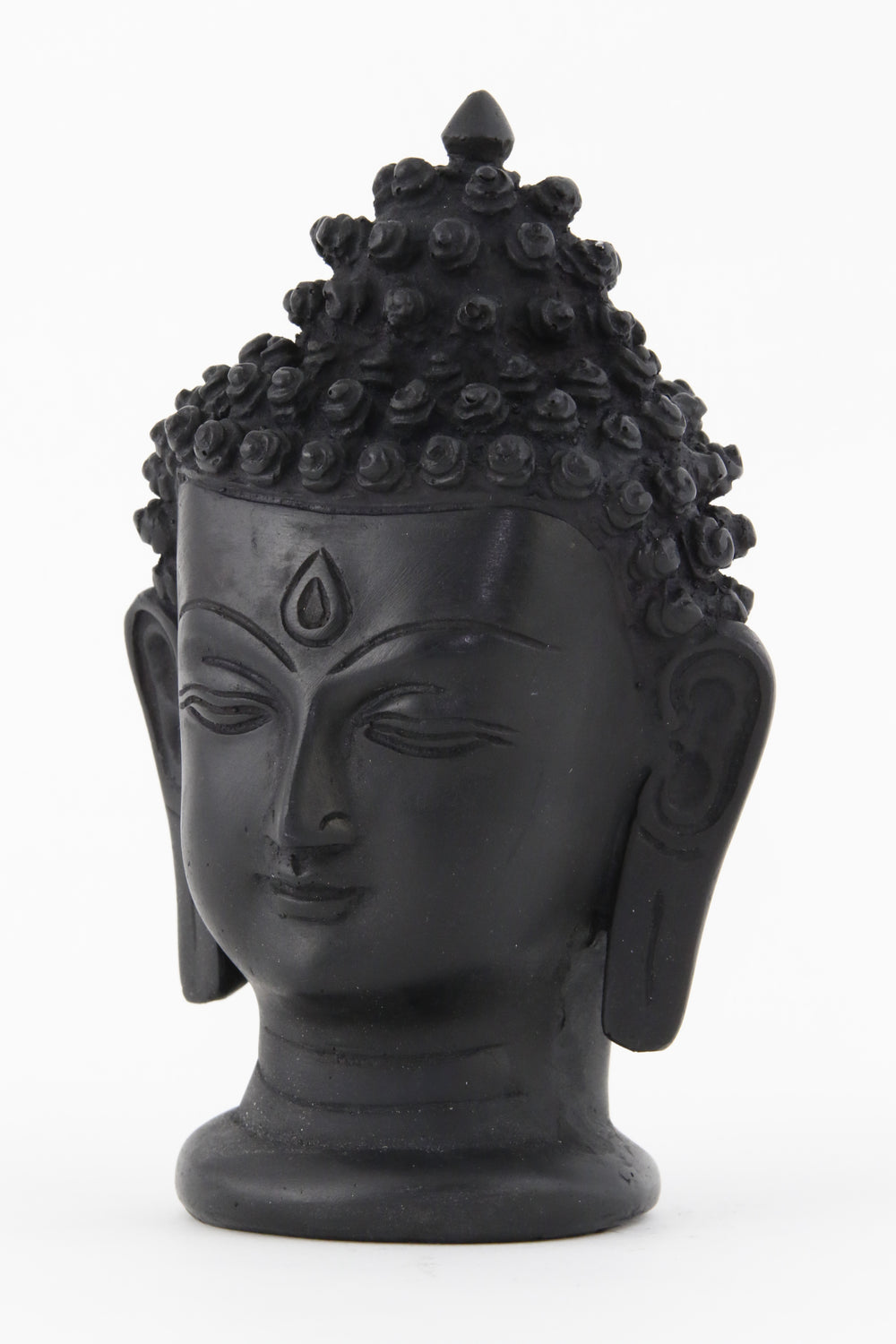 BUDDHA HEAD STATUE DARK LARGE SIDE VIEW