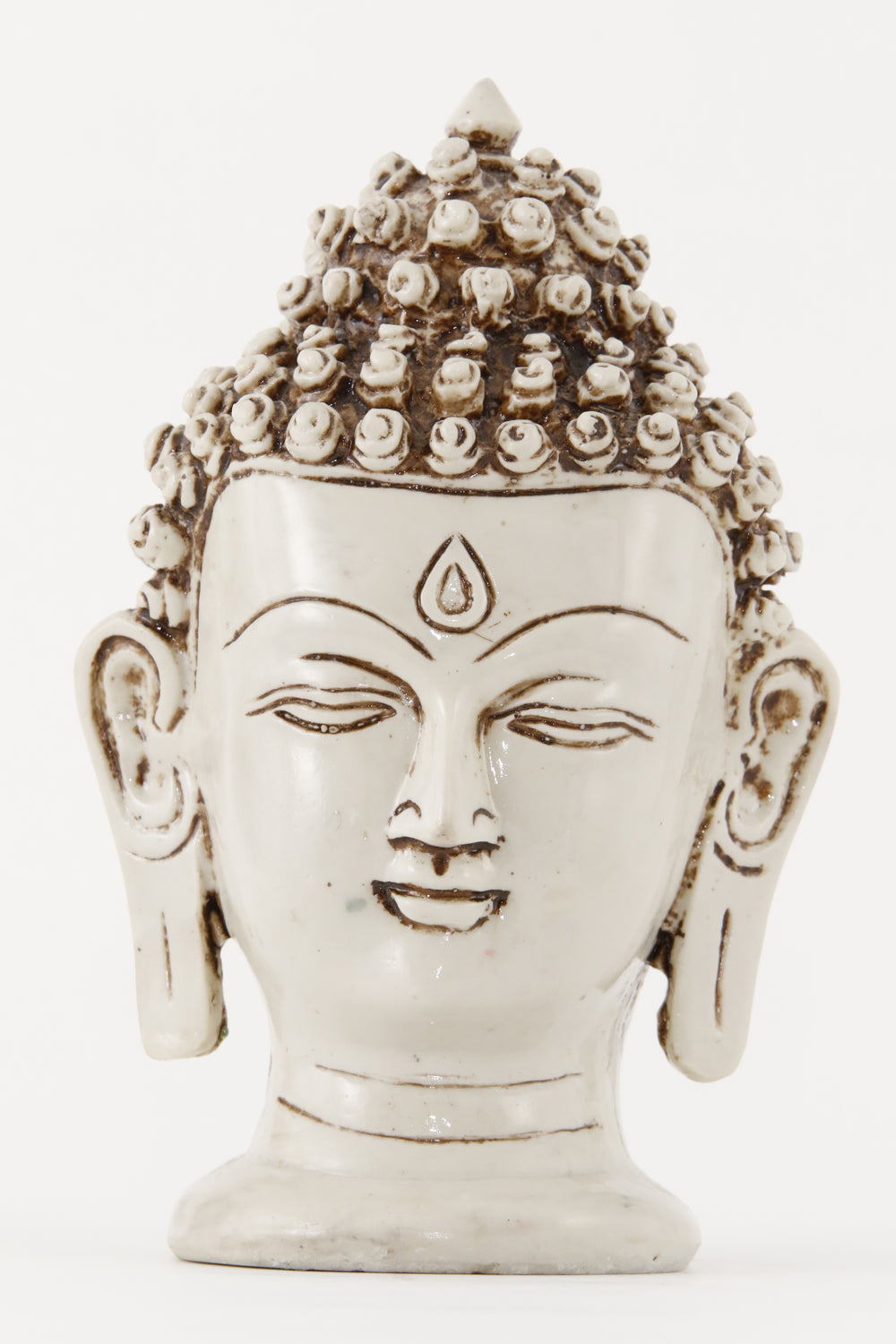 BUDDHA HEAD STATUE OFF-WHITE LARGE FRONT VIEW
