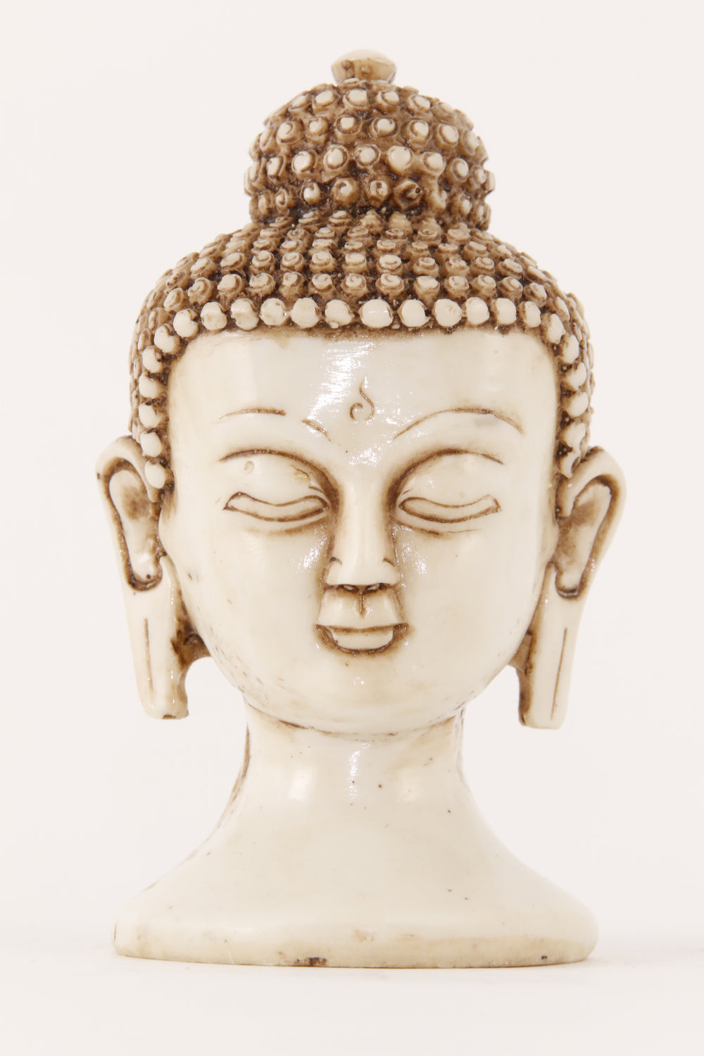 BUDDHA HEAD STATUE OFF-WHITE SMALL FRONT VIEW