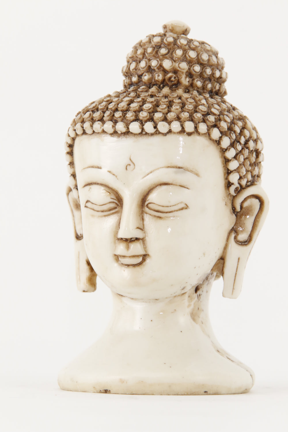 BUDDHA HEAD STATUE OFF-WHITE SMALL SIDE VIEW