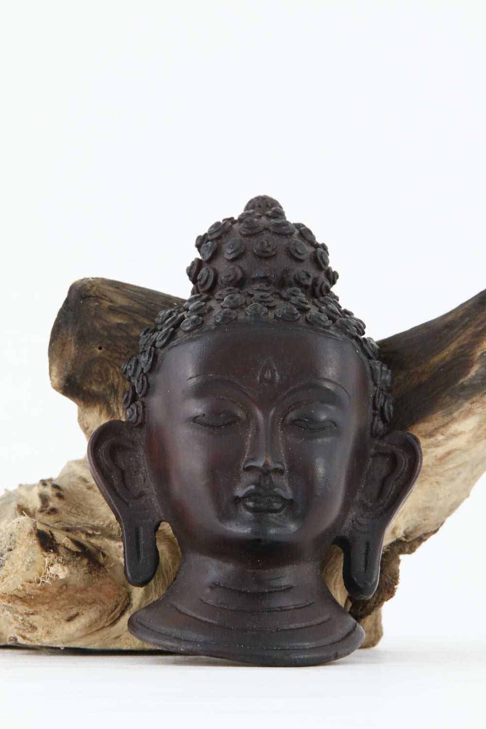 BUDDHA HEAD WALL HANGING STATUE DARK FRONT VIEW