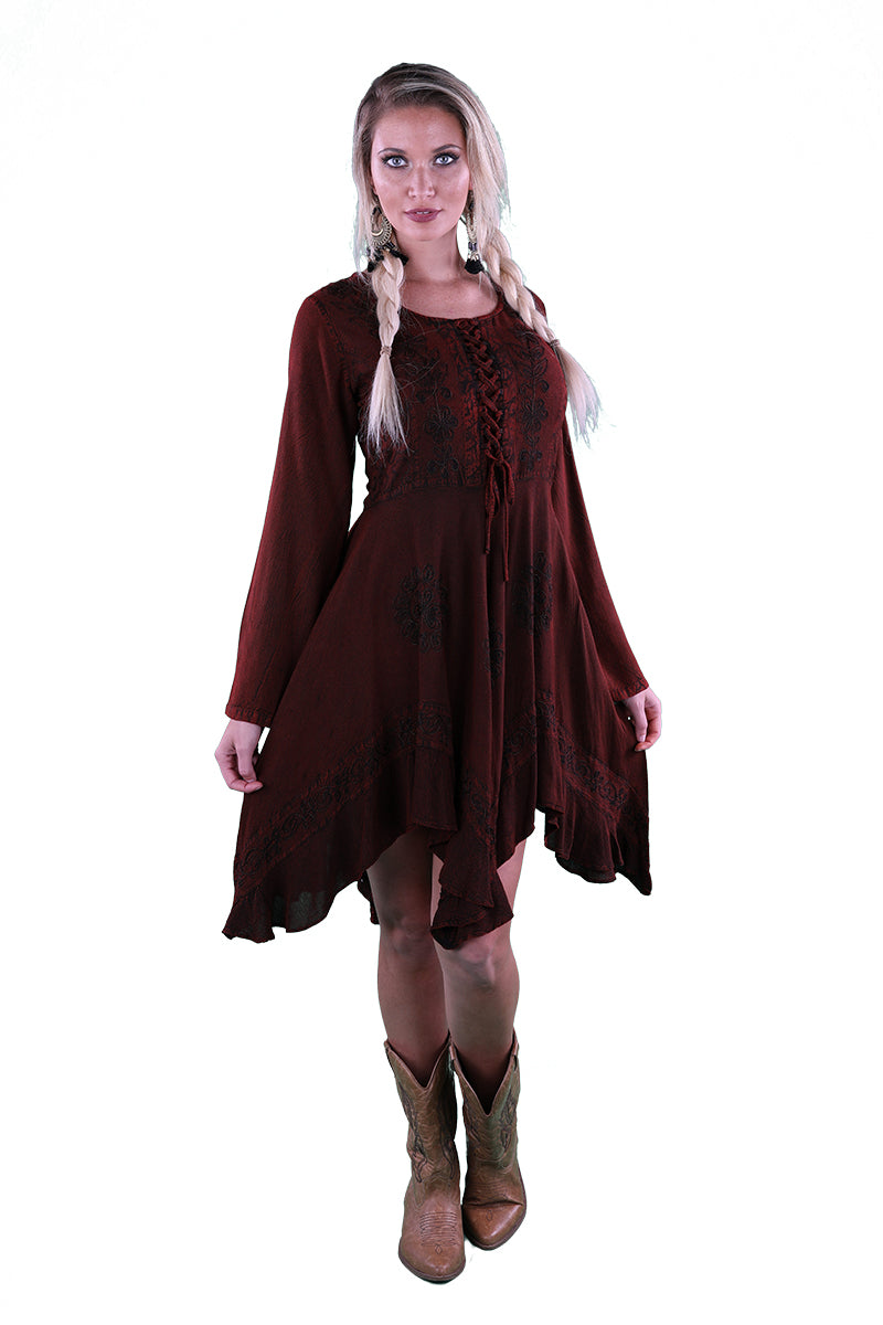 LACE-UP MEDIEVAL STYLE DRESS SHORT LENGTH BURGUNDY