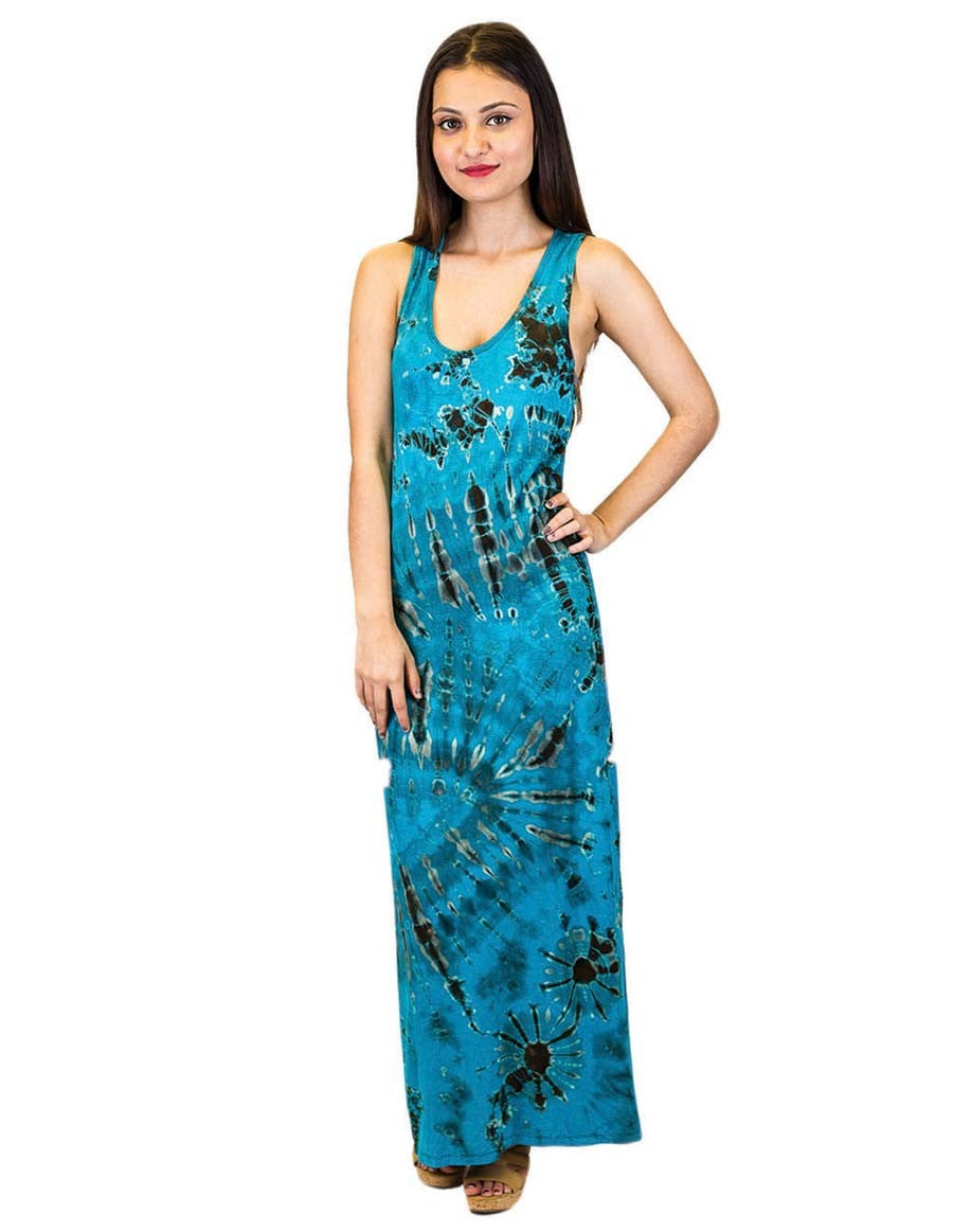 TIE DYE MAXI DRESS TURQUOISE