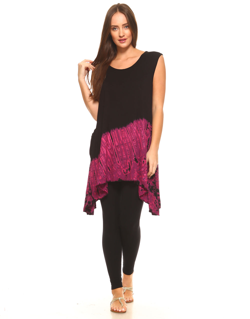 HALF TIE DYE TUNIC TOP POINTY SIDES MAGENTA