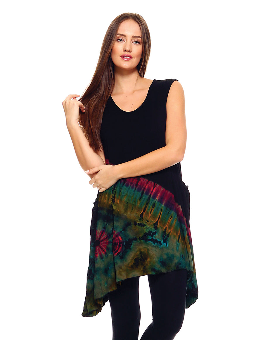 HALF TIE DYE TUNIC TOP POINTY SIDES GREEN