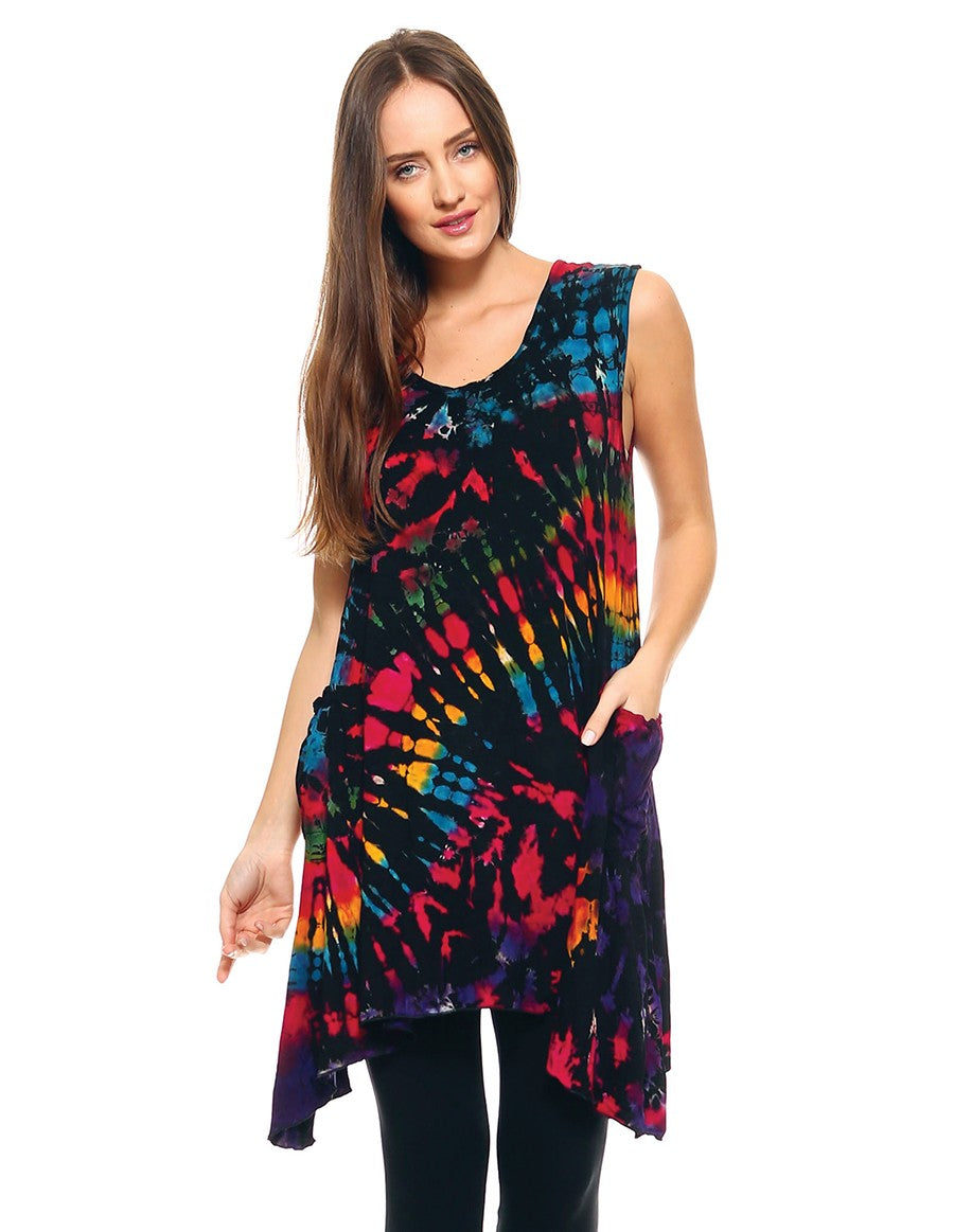 TIE DYE TUNIC TOP POINTY SIDES BLACK RAINBOW