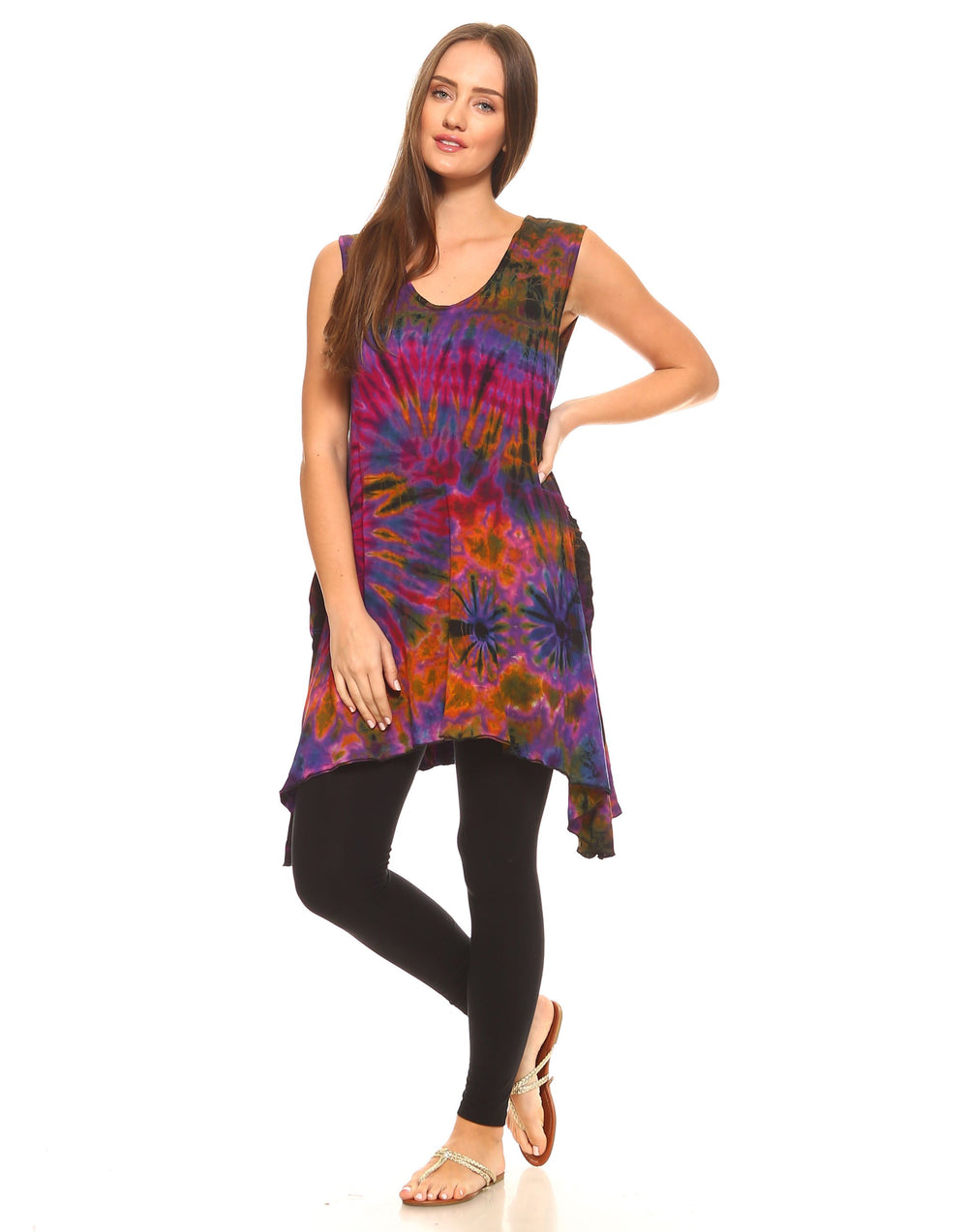 TIE DYE TUNIC TOP POINTY SIDES PURPLE