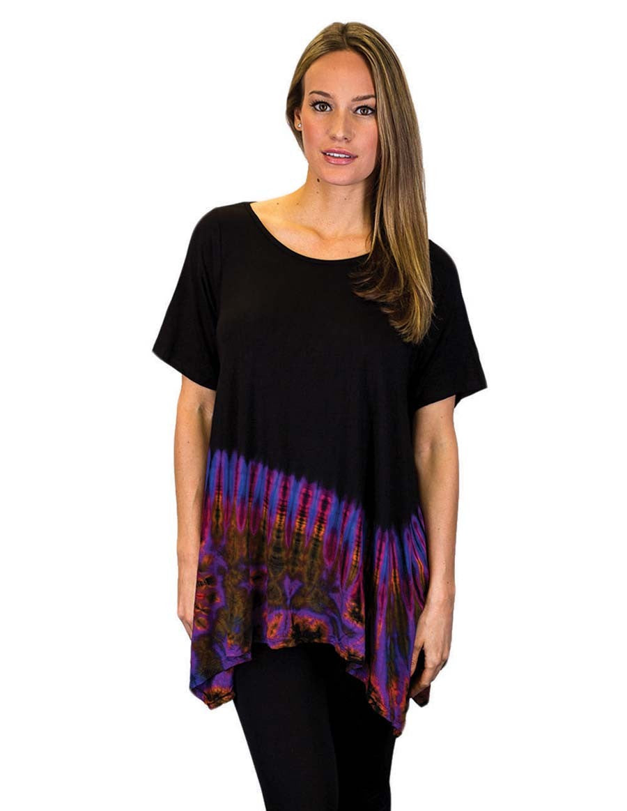 HALF TIE DYE KERCHIEF TOP WITH SLEEVES  PURPLE