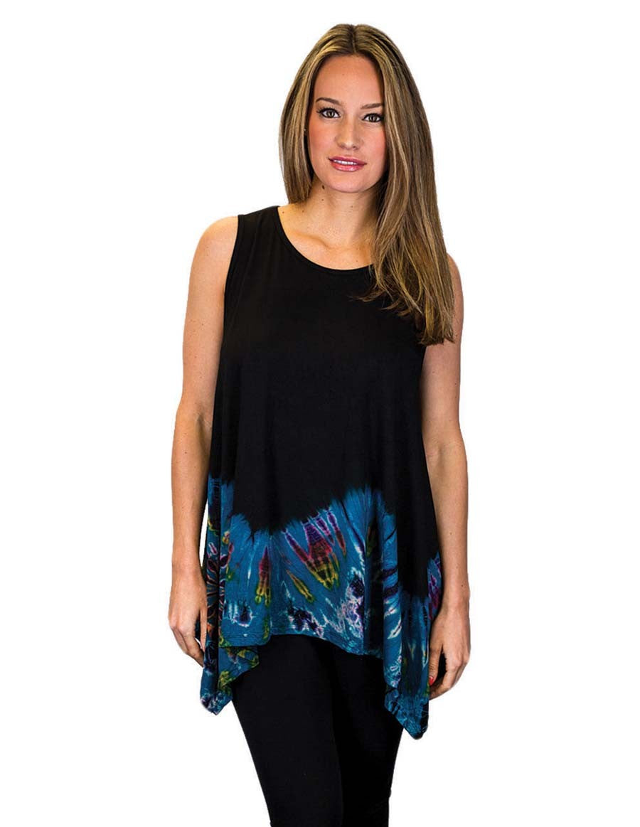 HALF TIE DYE KERCHIEF TOP SLEEVELESS BLUE