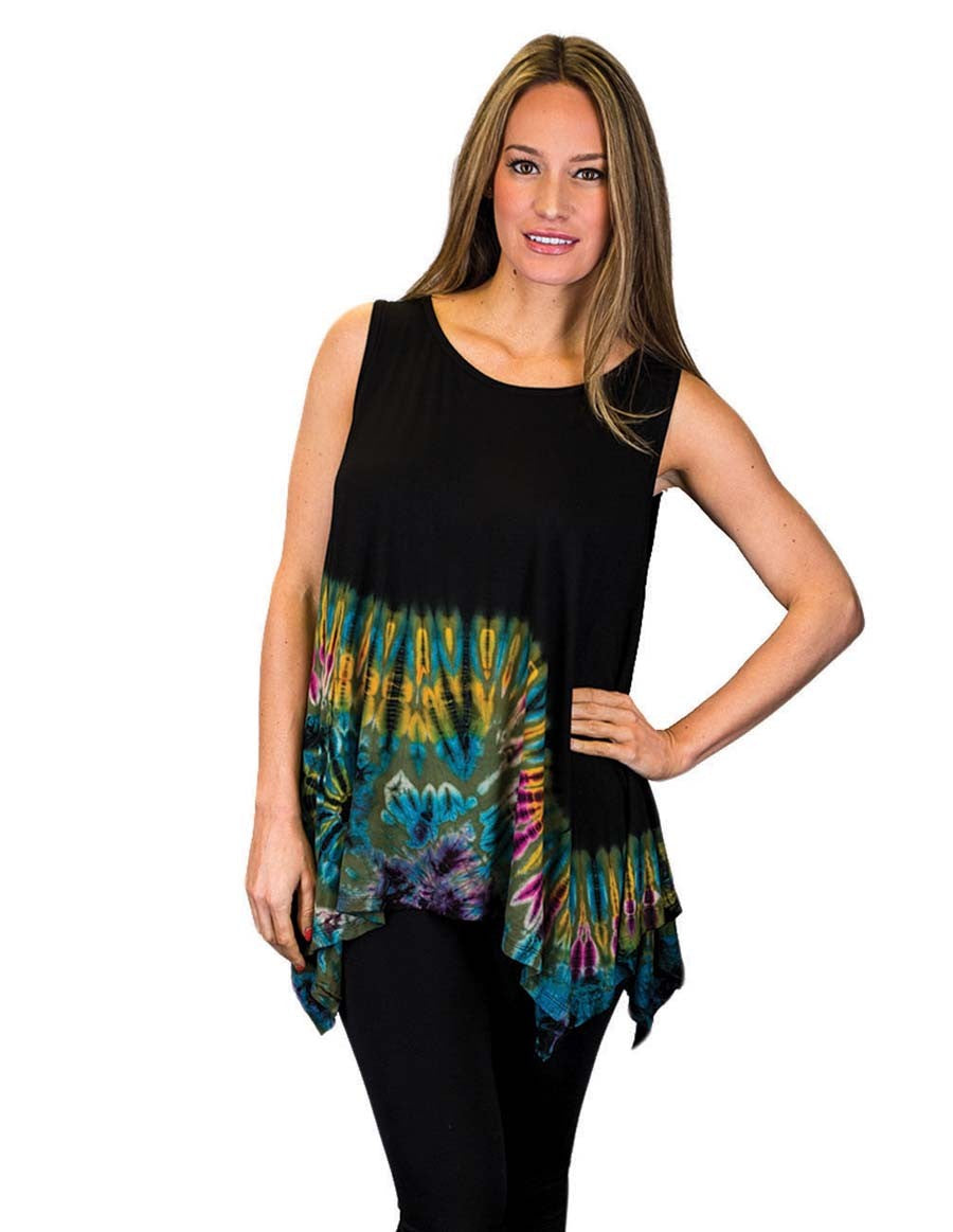 HALF TIE DYE KERCHIEF TOP SLEEVELESS GREEN