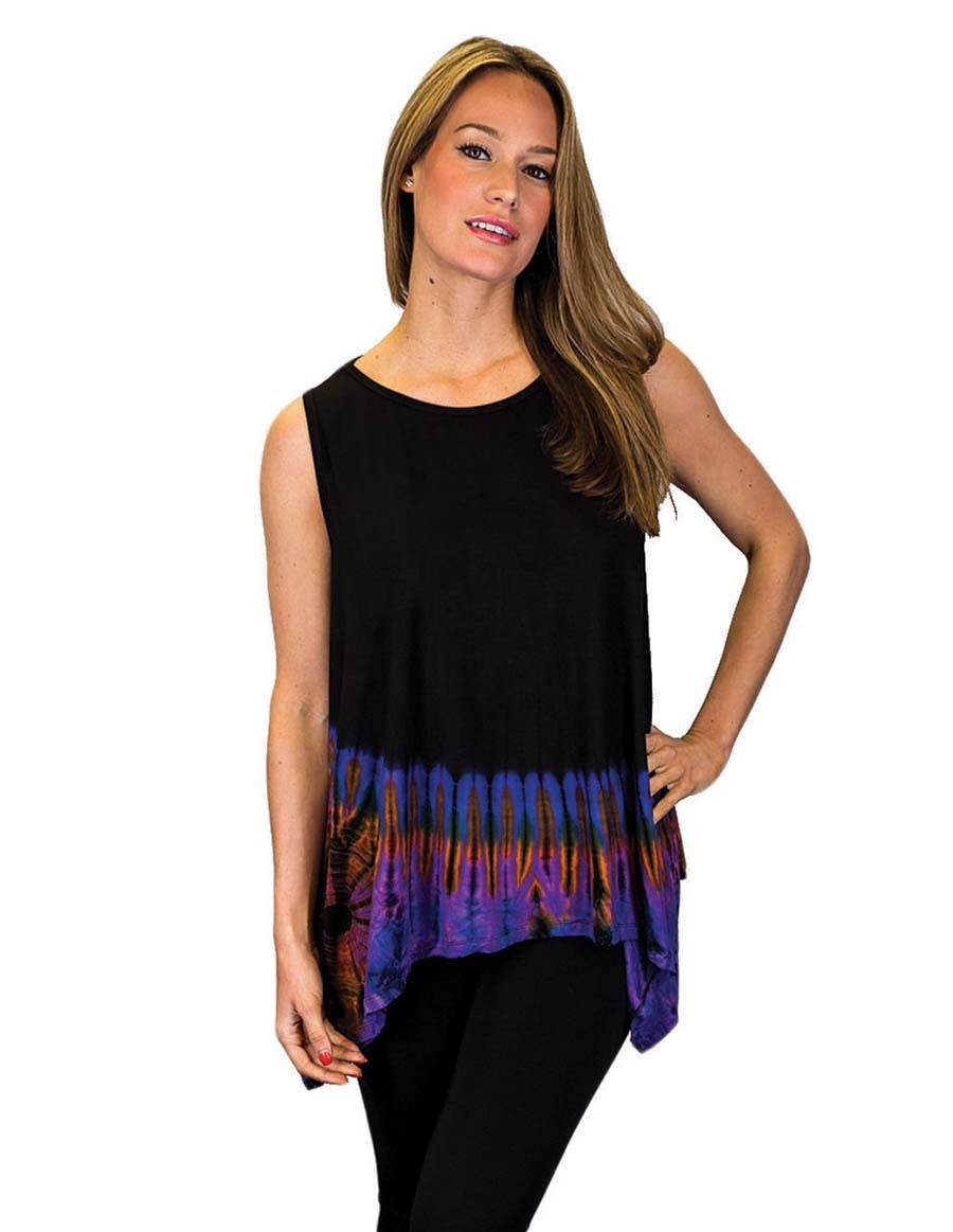HALF TIE DYE KERCHIEF TOP SLEEVELESS MAROON
