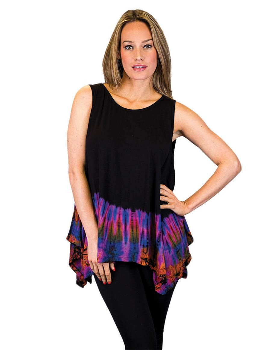 HALF TIE DYE KERCHIEF TOP SLEEVELESS PURPLE