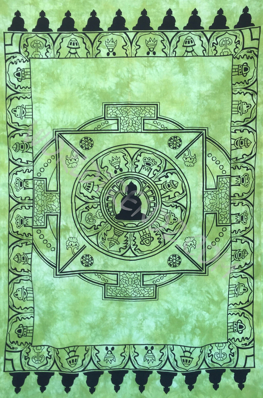 SHADOW BUDDHA TAPESTRY GREEN