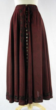 Button-up SKIRT BURGUNDY Front View Detail