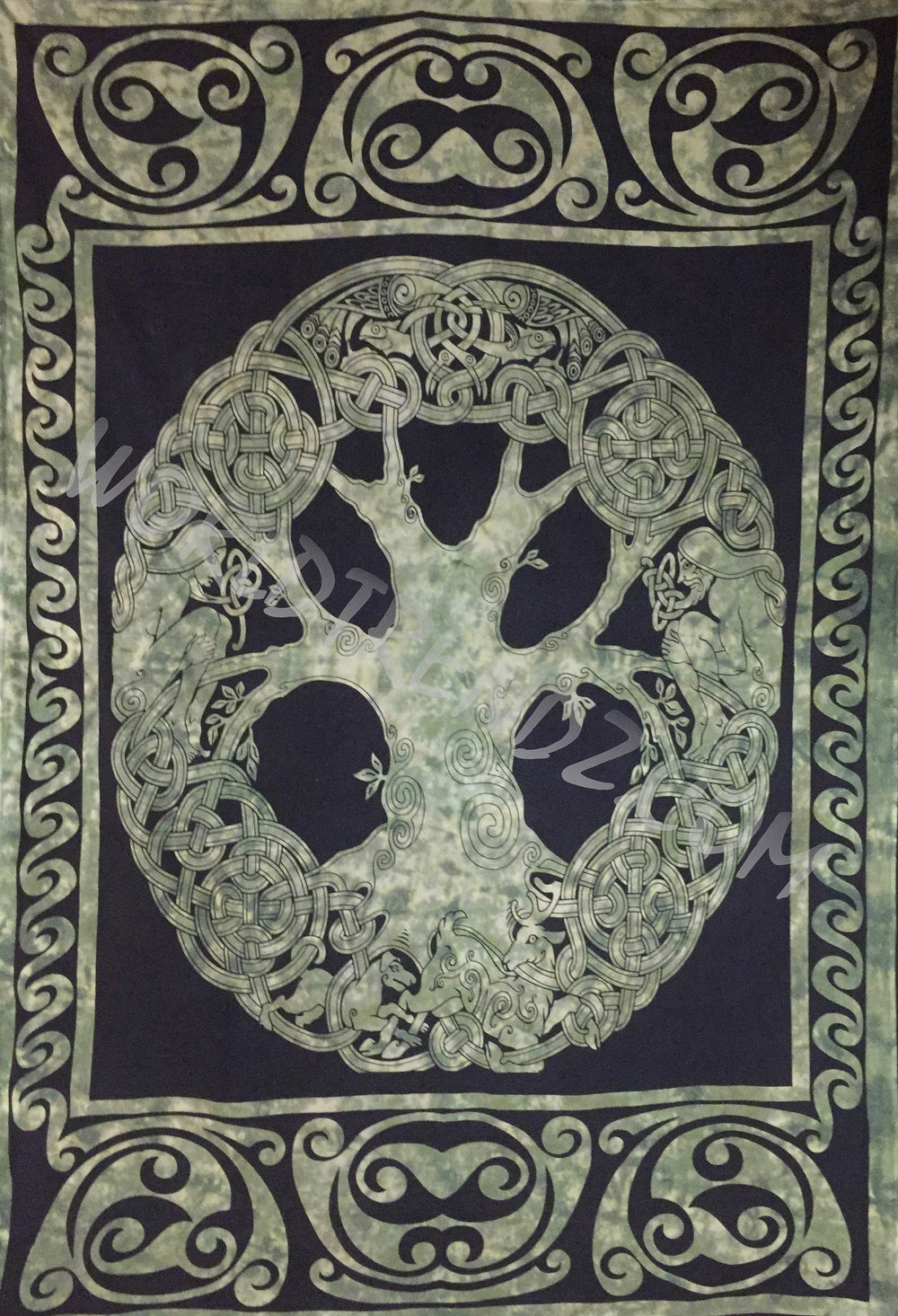 CELTIC KNOT TREE OF LIFE  TAPESTRY GREEN