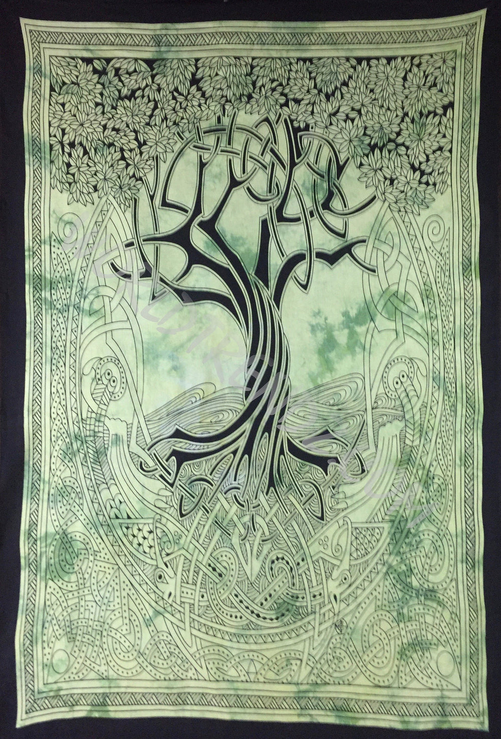 TREE OF LIFE CELTIC TAPESTRY GREEN