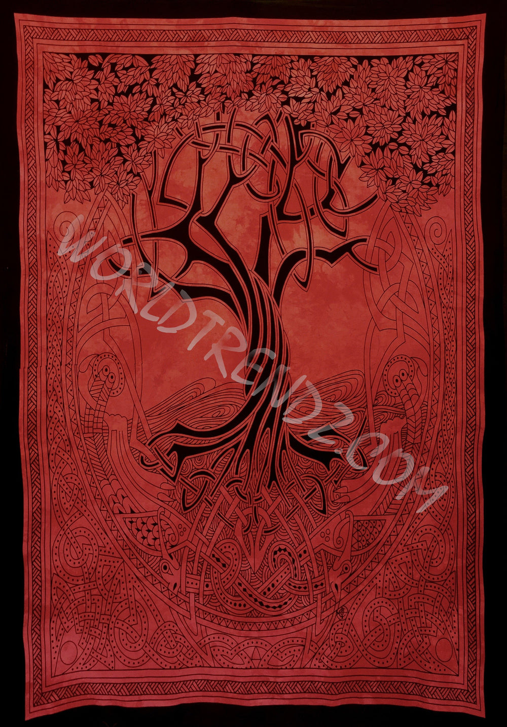 TREE OF LIFE CELTIC TAPESTRY RED
