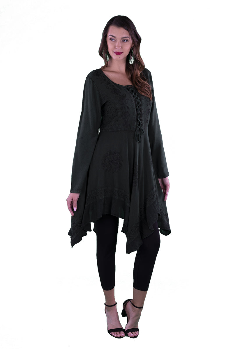 LACE-UP MEDIEVAL STYLE DRESS SHORT LENGTH DARK GREEN